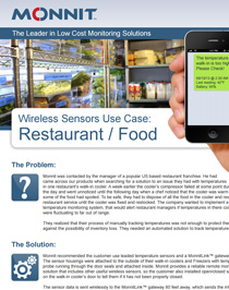 Wireless Sensors Use Case - Restaurants and Food Services