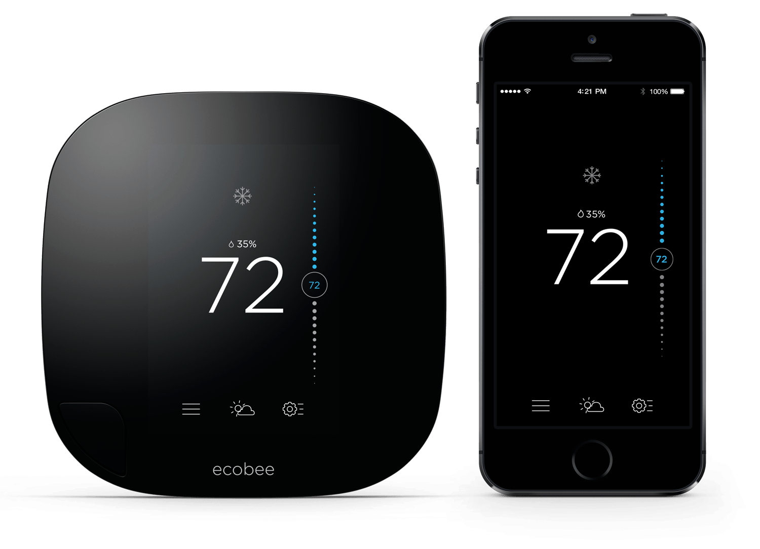 Figure 1: Ecobee interfaces maintain a consistent look and feel across screens
