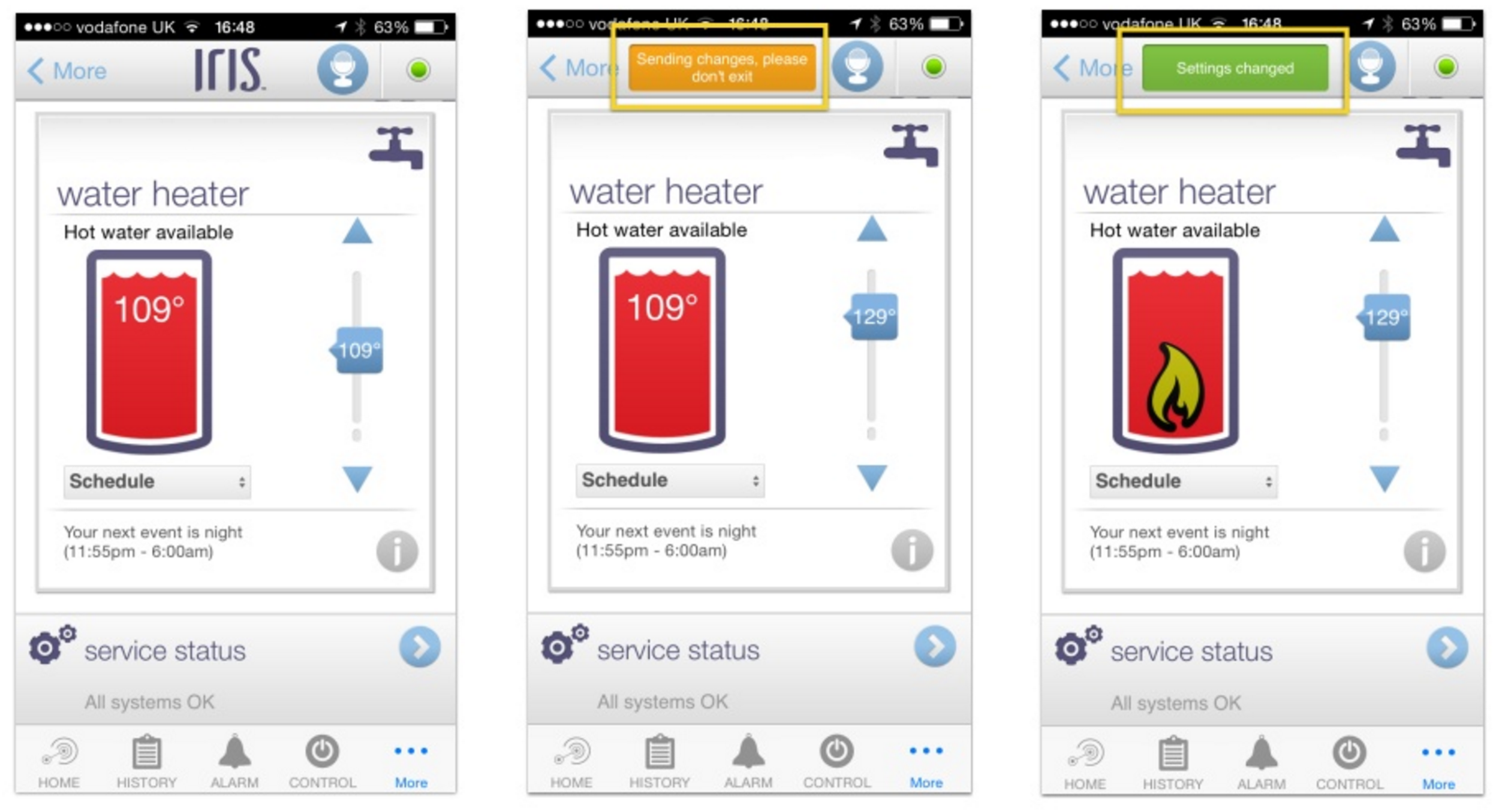 Figure 3: The Lowes Iris water heater UI clearly shows the user the status of an action